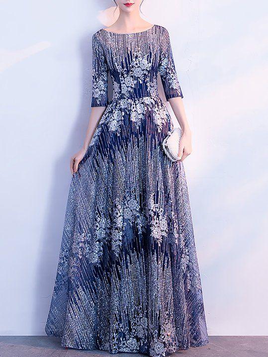 b8c9c82de0 Elegant A-Line Wedding Crew Neck Sequins Floral Maxi Dress