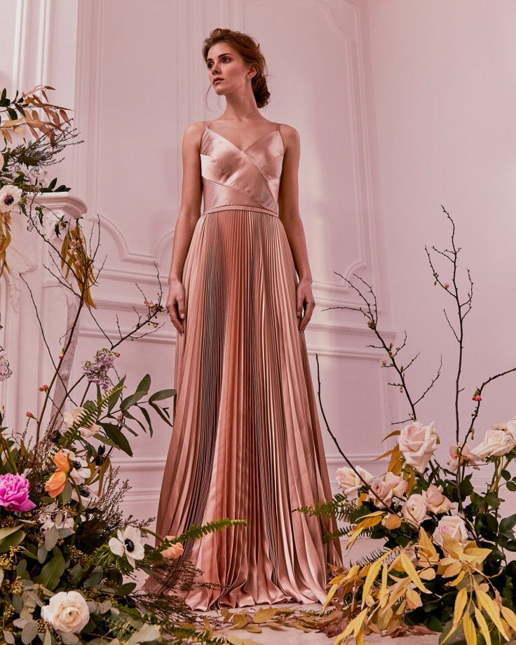 Pleated Satin Maxi Dress Rose Gold Dresses Ted Baker