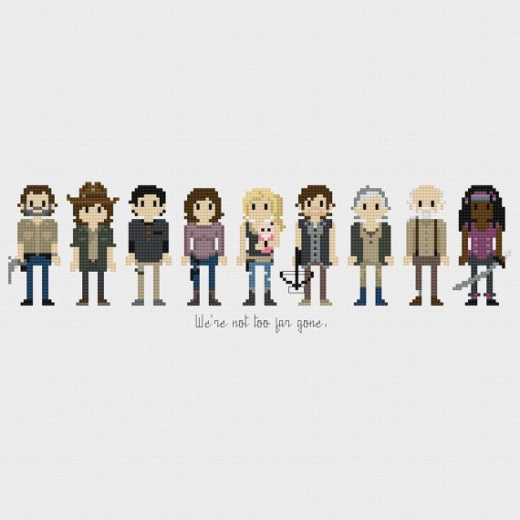 The Walking Dead (Rick Grimes, Carl Grimes, Glenn Rhee, Maggie Greene, Beth Greene, Baby Judith, Daryl, Carol Peletier, Hershel Green, Michonne) inspired cross stitch pattern PDF instant download includes:  Full color, easy-to-read chart with color symbols and DMC thread legend Bonus: Cross-stitching Basics PDF ________________________________  Pattern Details: Fabric: Aida 14 ct Grid Size: 169W x 54H Design Area: 11.64 x 3.50 (163 x 49 stitches) DMC Colors: 26…