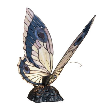 This Pretty Butterfly Accent Lamp Has Beige, Pink, And Blue Violet Wings.