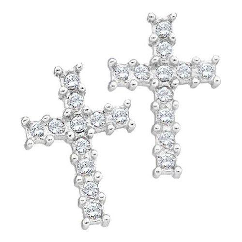 1/10CT-Diamond CROSS EARRING