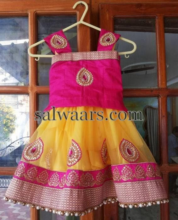 Kundan Work Net Lehenga - Indian Dresses