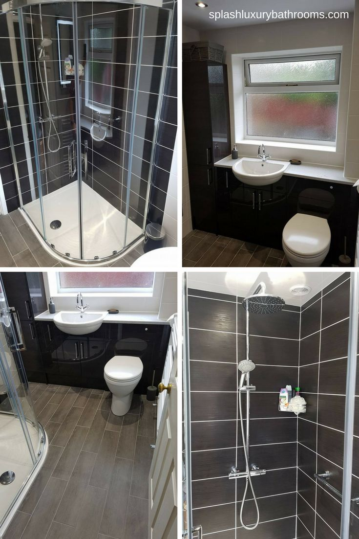 Beautiful black and white #bathroom by Splash Kitchens and Bathrooms (http://www.splashluxurybathrooms.com/)   The Valmiera Quadrant is the perfect blend of functionality and the beauty of seamless curves to make the most of aesthetics and available space.  Price from £973.20 Inc. VAT  #Contemporary #BathroomDesign
