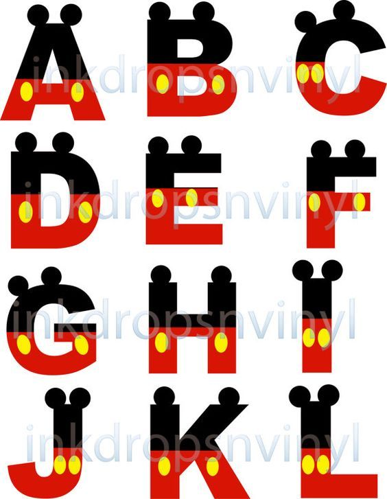 Mickey Mouse Inspired Letters and Numbers Red with Yellow Buttons Full Alphabet and Numbers Instant Download Digital File: