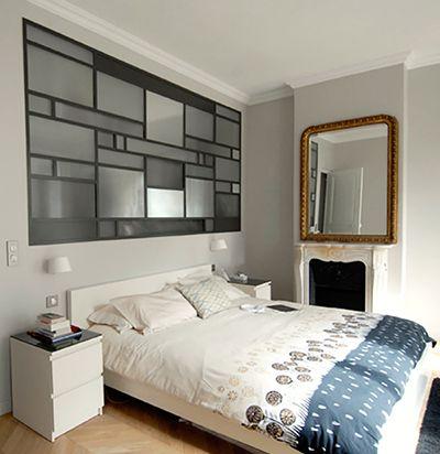 Verrière séparation chambre salle de bain esprit Mondrian in 50 verrières déco - blog mydecolab