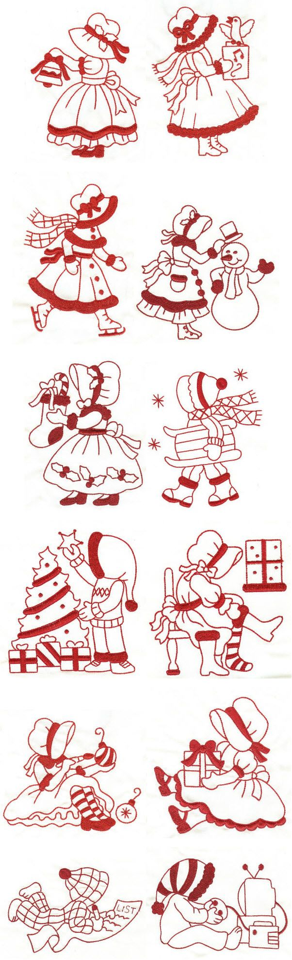 Embroidery | Free Machine Embroidery Designs | A Very Merry Sunbonnet Christmas Redwork
