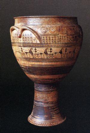 Cratere del Dipylon; VIII secolo a.C. (740 a.C. circa), Periodo di Formazione; ceramica dipinta a vernice nera; necopoli del Dipylon, Atene; Museo Archeologico Nazionale, Atene.