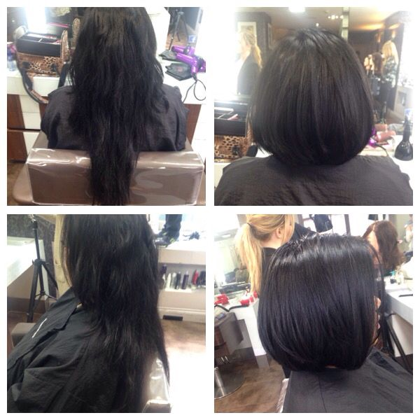Loved every second of this haircut!! Huge change but my lady looked beautiful with her new hair!!   Long hair cut into a short, one length Bob with layers..