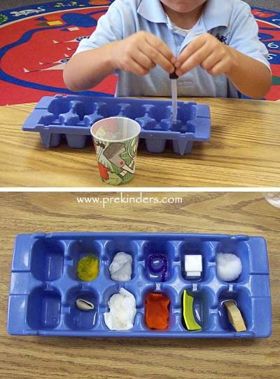 absorption experiment - I've done something like this before, and the kids love it.  Adding the ice tray is brilliant!