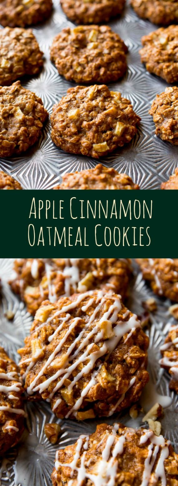 Soft and chewy apple cinnamon oatmeal cookies with crisp edges and tons of flavor! So quick and no mixer! Recipe on sallysbakingaddiction.com http://eatdojo.com/easy-healthy-cookie-recipes-no-sugar/