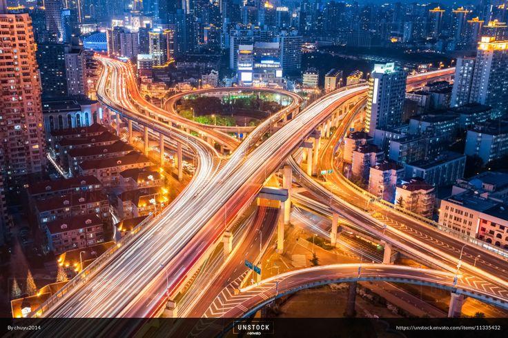 Unstock - city interchange closeup at night