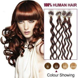 20 Inches Dark Auburn(33) 100S Curly Micro Loop Human Hair Extensions by ALIHAIR. $45.47. 100% Real remy human hair.. 200-300strands are recommended for whole head.. High quality, tangle free, silky soft.. Can be washed, heat styled.. APPLICATION:1.Wash and condition the hair thoroughly. After washing, blow dry the hair so that it is straight with no styling products (do not grease or saturate the hair with any other oils). 2.Depending on the style of the extensions,For examp...