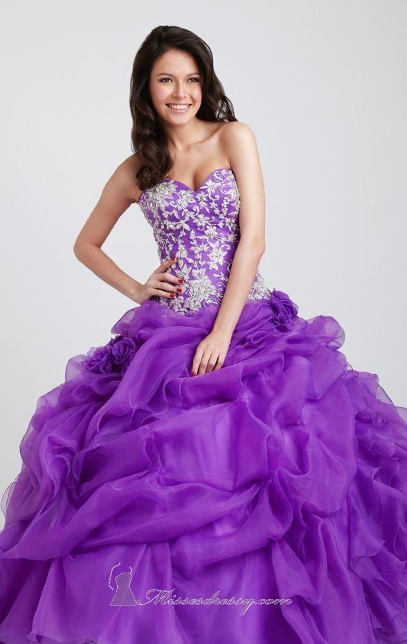 Puffy diamond top purple dress