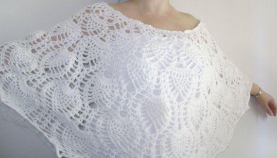 Crochet Wedding Shawl.Crochet White Lace by RiaCrochetCreations, €63.20