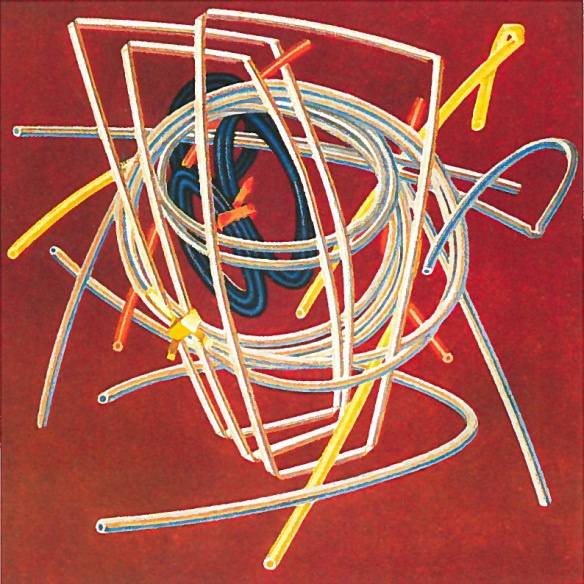Edward Wadsworth (1889-1949), Extruded Tubing (1942-1944), tempera on paper, 35 x 35 cm, Private collection.