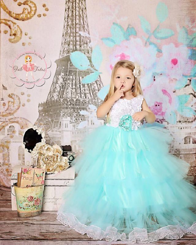ティファニーブルー☆バラ模様トップのふんわりチュチュドレス「Audrey」