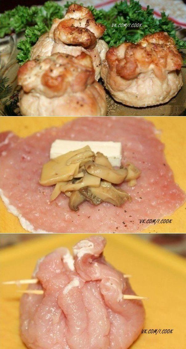 Мешочки с сыром и грибами - Простые рецепты Овкусе.ру
