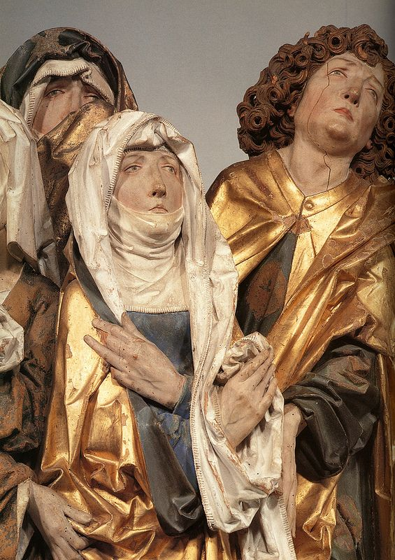 Tilman Riemenschneider, Passion Altarpiece.Mourning women and St. John and his soldiers. detail of the Virgin and St.John.Rothenburg ch.c.1485-1490.[Munich]   Flickr - Photo Sharing!