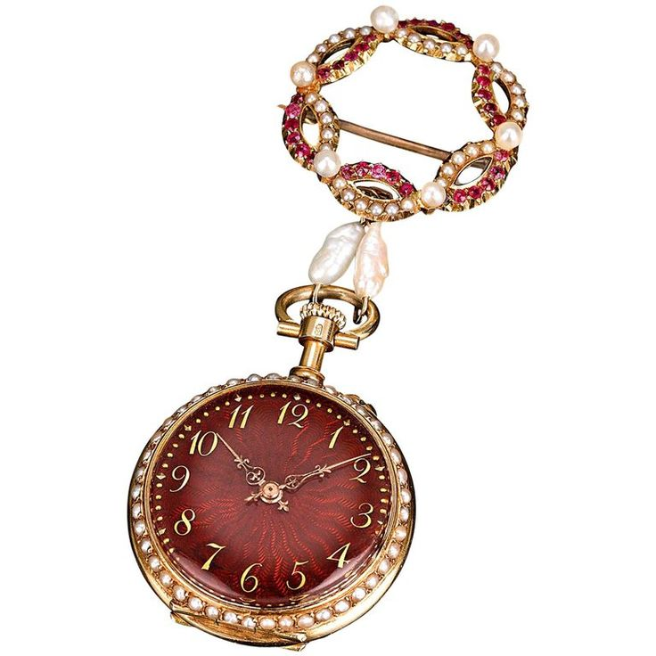 Ruby and Pearl Lapel Watch | From a unique collection of vintage pocket watches at https://www.1stdibs.com/jewelry/watches/pocket-watches/