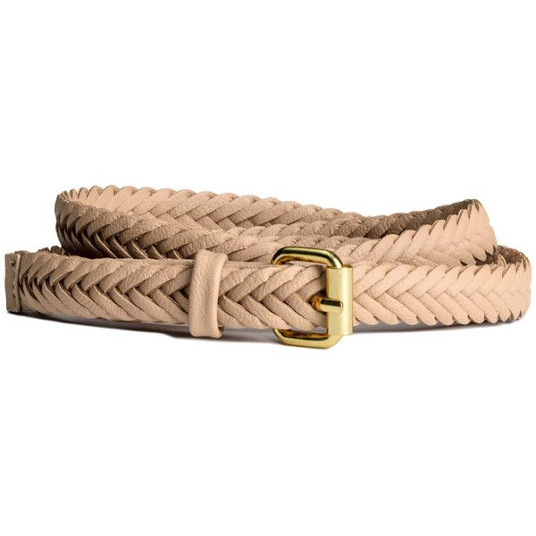 H&M Braided belt ($6.26) ❤ liked on Polyvore featuring accessories, belts, h&m, beige, brown, brown belt, h&m belts, beige belt, woven belt and braided belt