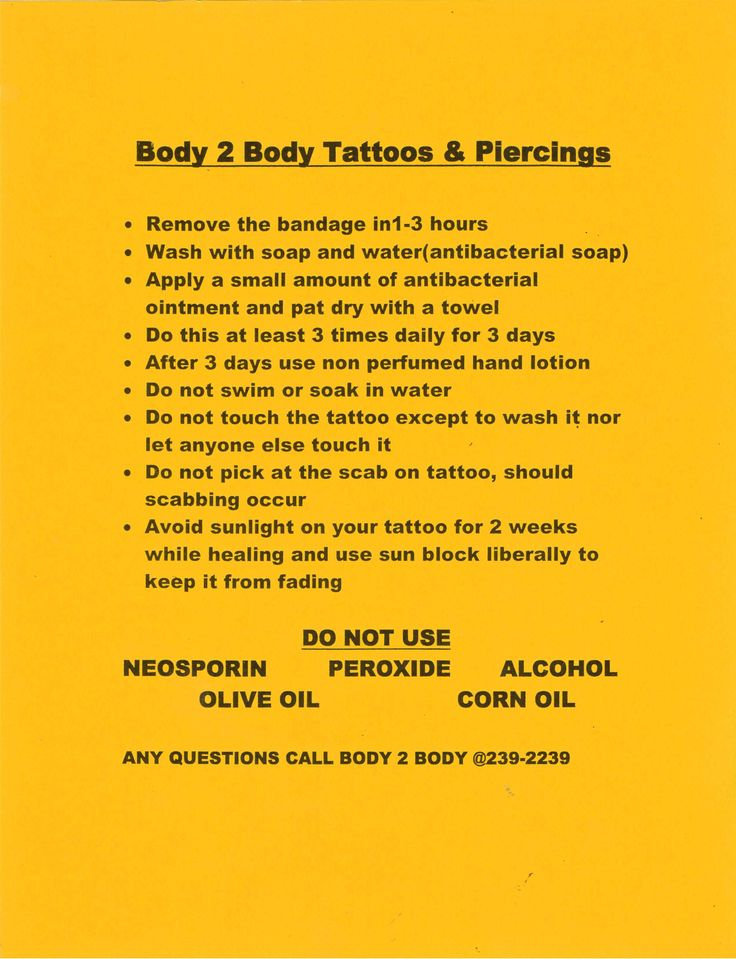 Tattoo Aftercare Instructions
