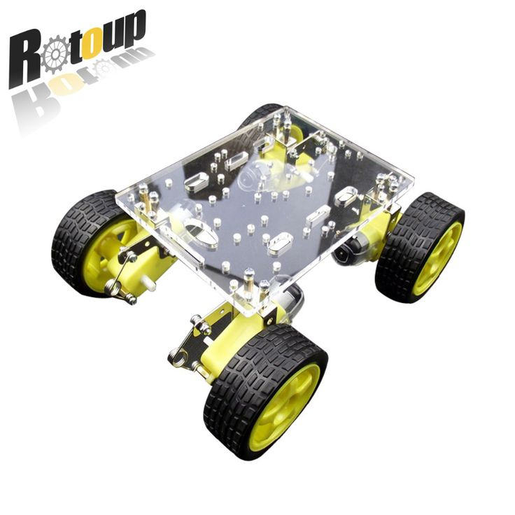 Rotoup 4WD Smart Robot Chassis acrylic Kit Avoidance robot Platform chassis Motor car Wheels Speed Encoder for Arduino #RBP010