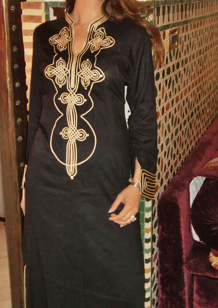 gold and black caftan