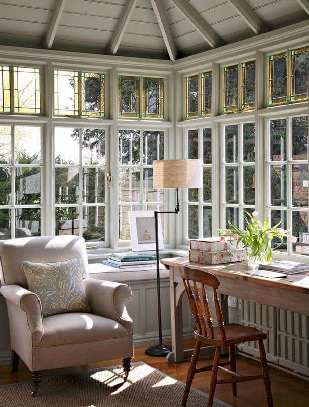 The white paneled windows of the Castle Writing Nook letting in a lot of light.