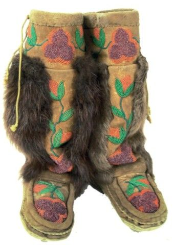 Cree beaded Mukluks mid 1900s. Beautiful works of art.