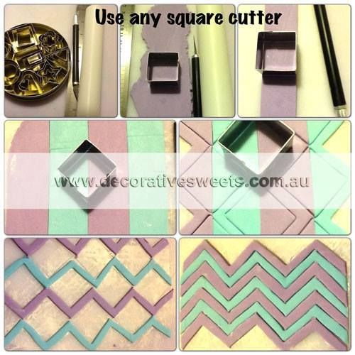 how to cut chevron pattern fondant