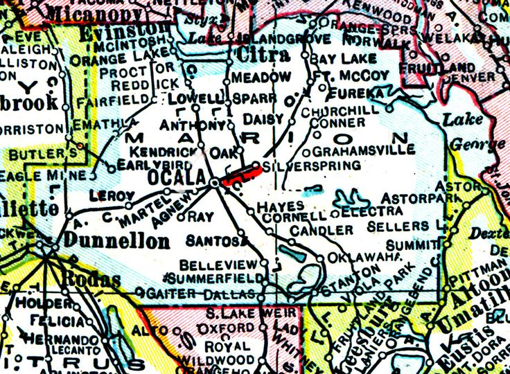 Marion County Florida Map.Map Marion County Dunnellon Florida
