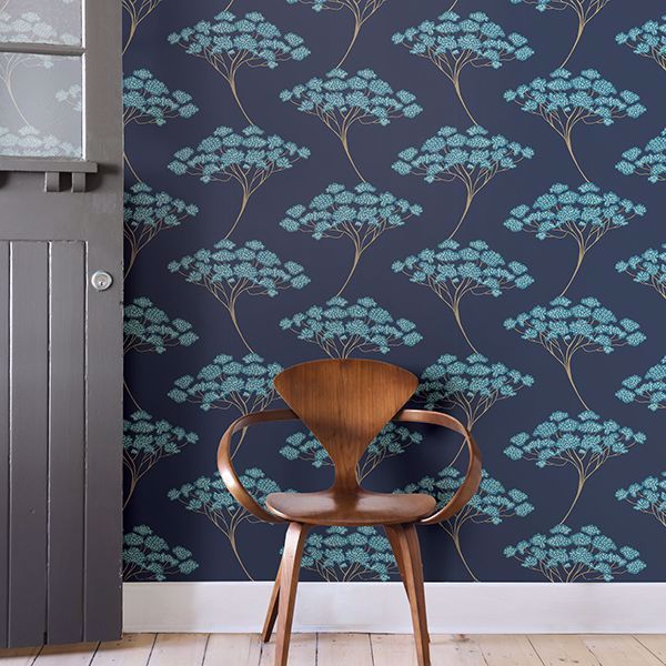 Blue Ficus Peel And Stick Wallpaper Stick On Wallpaper Nuwallpaper Wallpaper Roll