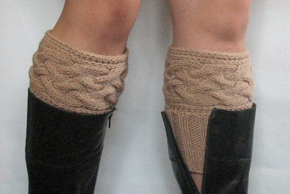 Beige Boot Cuff Boot Toppers Leg Warmers Boot Socks Knit