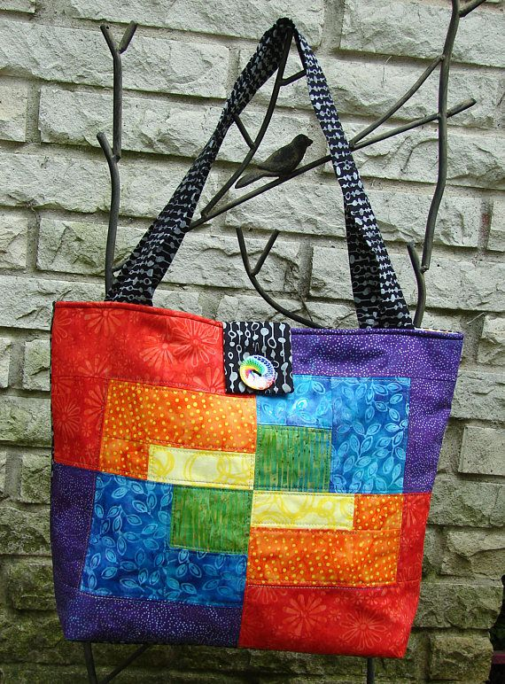 Split-Patch Rainbow Tote Bag Black & Gray Batik Body