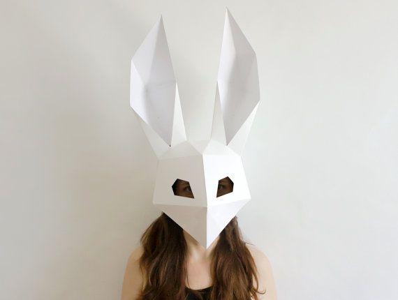 Make your own Rabbit Mask, Animal Mask, Instant Pdf download, DIY Halloween Paper Mask, Printable  Low Poly Bunny Mask, Polygon Masks