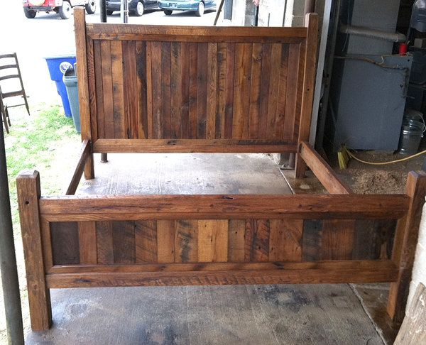 King Size Bed Frame Made with Beveled Posts by BarnWoodFurniture, $1,295.00