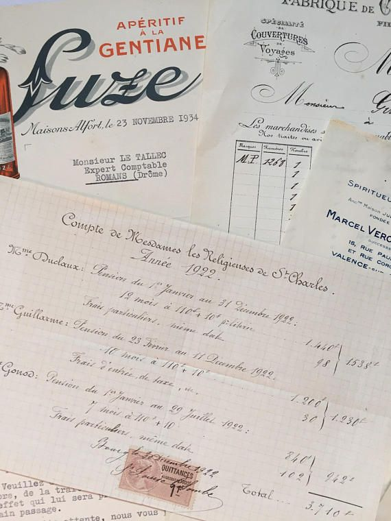 Set of French vintage invoices  business letters with letterheads - business letters