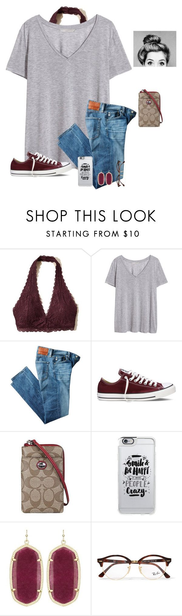 QOTD| What color are your eyes by raquate1232 ❤ liked on Polyvore featuring Hollister Co., HM, AG Adriano Goldschmied, Converse, Coach, Casetify, Kendra Scott and Ray-Ban