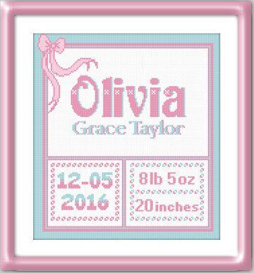 Personalized Birth announcement cross stitch pattern