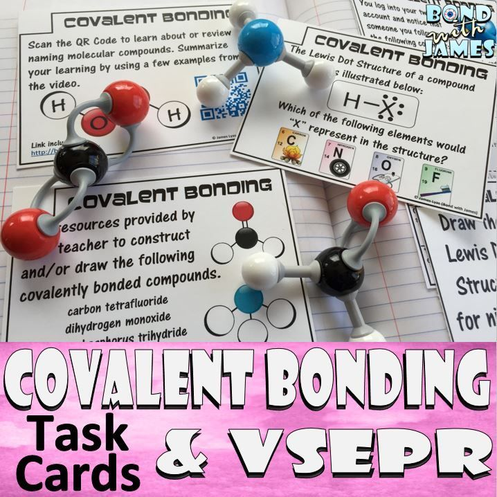 40 Covalent Bonding and VSEPR Task Cards to help you switch up your lessons from traditional worksheets. All-in-One: Engage, explore, explain, elaborate, and evaluate!