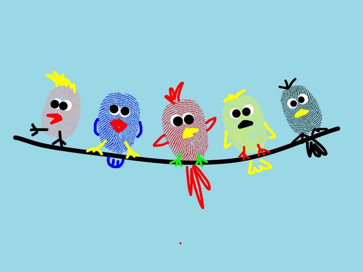 "Fingerprint Birds on a Wire - created on my iPad using ""Fingerprint Art"" XD #FingerprintArt #PreschoolIdeas #ArtActivity #FingerprintBirds #fingerprintIdeas #thumbprintIdeas"