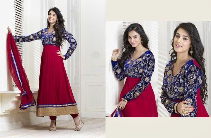 Unique Crimson & Royal Blue Salwar Kameez   StylishKart.com