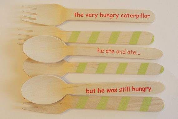 Very Hungry Caterpillar stamped wooden utensils