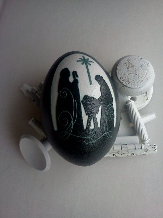 Nativity Carved Emu Egg OOAK Home Decor. by FarmFresh2FineArt, $74.95  maybe similar painted on rock???