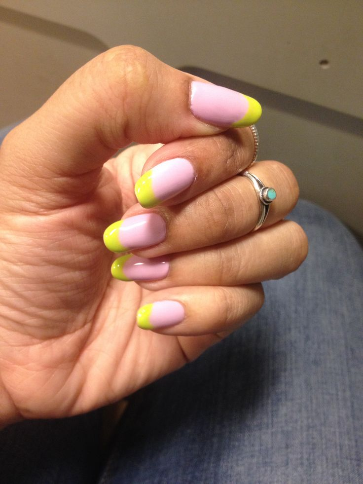 round nails purple and lime green nail designs #roundnails #purple and #lime #green #naildesigns super kute!
