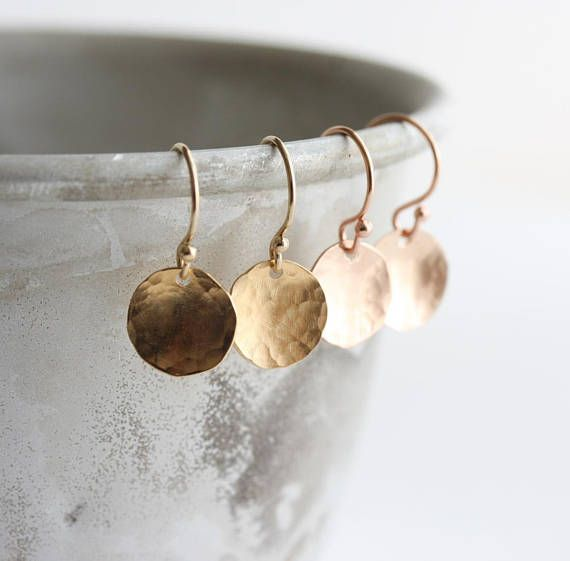 Gold disc earrings rose gold or yellow gold hammered circle