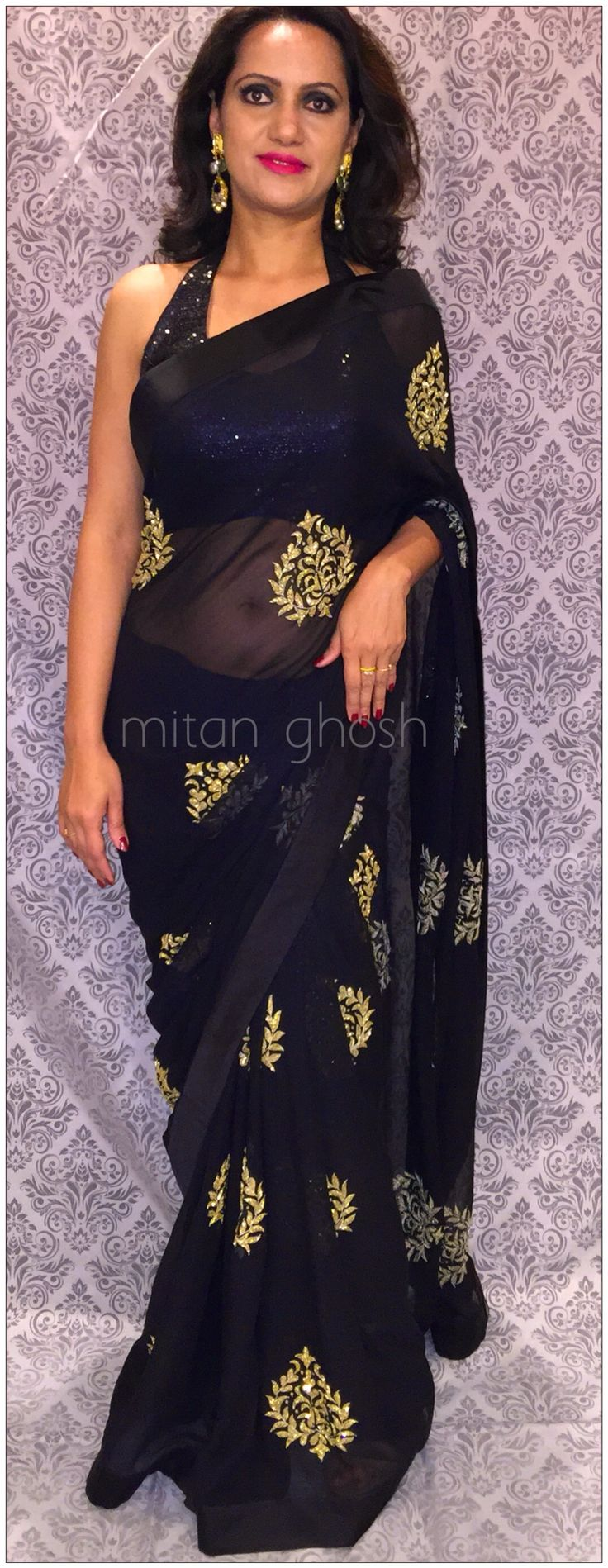 Georgette Saree with katdana hand embroidery