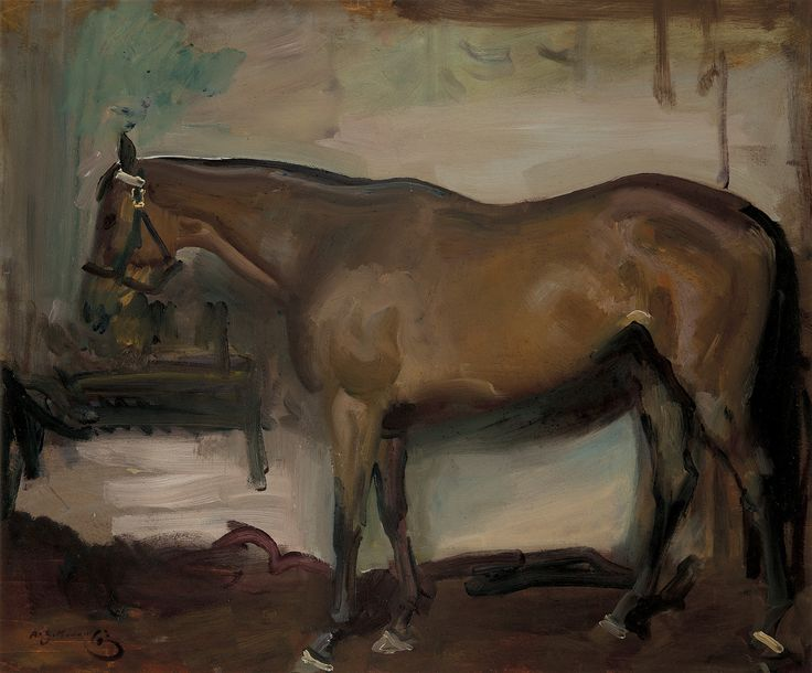 Sir Alfred Munnings, 'A racehorse in a stable' #sportingart #horse #Munnings