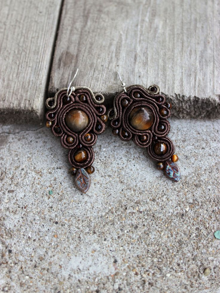 Tigers eye earrings, Boho Beaded dangle earrings - Tigers eye jewelry Soutache Brown earrings, Stone earrings Leaf inspiration earrings.  #jewelry #earrings #brown #soutache