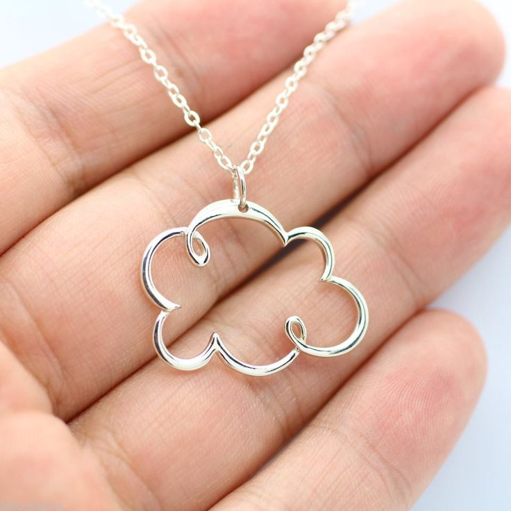 CLOUD CHARM NECKLACE - 925 Sterling Silver - Weather Cloud Jewelry Rain Snow NEW